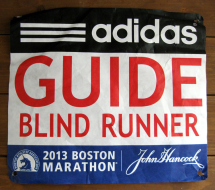 "Picture of Ray's Bib reading ""Guide Blind Runner"""