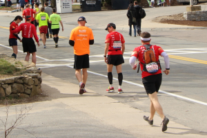 Runners with guides at the marathon