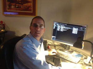 Erich Manser uses the Zoom Reader on his desktop computer.