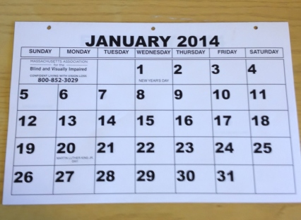 A MABVI large-print calendar would make a great gift for the holidays!