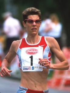 Olympic runner Marla Runyan runs.