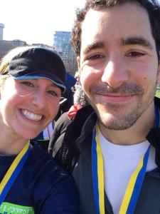 The couple smiles after the race