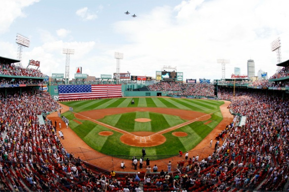 A photo of a filled Fenway Park, which offers assistive listening devices during the games