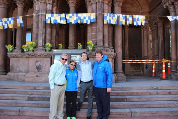 David McCord and Stephen Hendrickson in front of Trinity Church with their two houseguests from Team With A Vision, Diane and Aaron