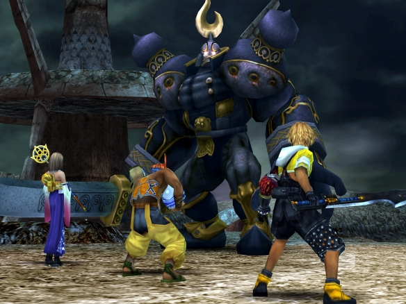 A screenshot from Final Fantasy X, a role-playing game that is unusually accessible; in the picture three character face off against a huge knight enemy called the Iron Giant