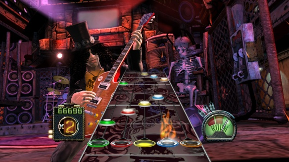 A screenshot from the game Guitar Hero, a music-based game in which the player must press buttons in time with the music