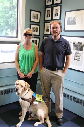 Jen Buchanan, Kyle Robidoux, and Jen's Guiding Eyes dog Keating