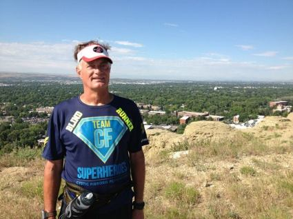David Kuhn (NOT dressed as a zombie) in Billings, Montana posing in front of a beautiful landscape